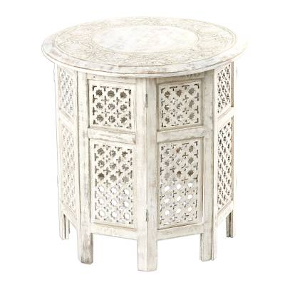 Wood accent table, 'Spring Delight' - Distressed Finish Mango Wood Accent Table from India