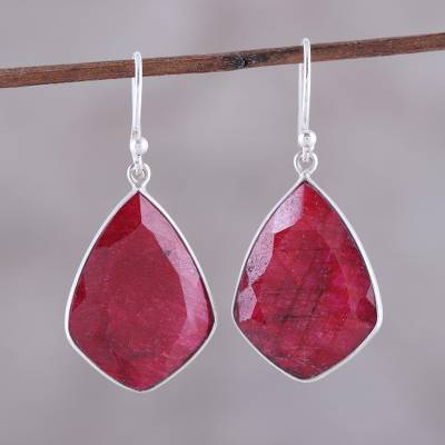 Ruby dangle earrings, 'Passionate Muse' - Ruby and Sterling Silver Dangle Earrings from India