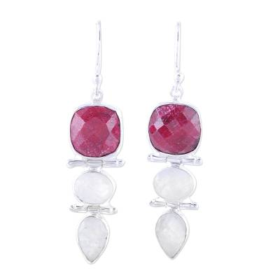 Ruby and Rainbow Moonstone Dangle Earrings from India