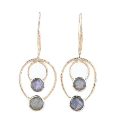 Gold plated labradorite dangle earrings, 'Dusky Glamour' - 18k Gold Plated Labradorite Dangle Earrings from India