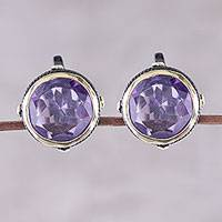 Gold accent amethyst button earrings, 'Radiant Unity' - Gold Accent Amethyst Button Earrings from India