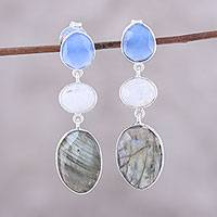 Multi-gemstone dangle earrings, 'Shimmering Trio' - Multi-Gemstone Dangle Earrings from India