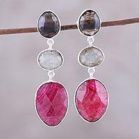 Multi-gemstone dangle earrings, 'Fascinating Trio' - Multi-Gemstone Dangle Earrings Crafted in India