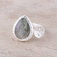 Labradorite wrap ring, 'Aurora Desire' - 3.5-Carat Labradorite Wrap Ring from India