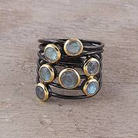 Gold accented labradorite cocktail ring, 'Dewy Morn' - Gold Accent Labradorite Multi-Stone Cocktail Ring from India