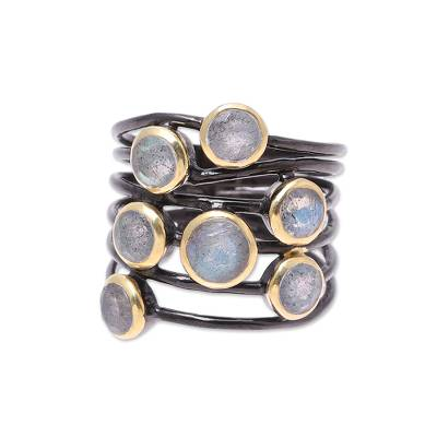 Gold accent labradorite cocktail ring, 'Dew Drops' - Gold Accent Labradorite Multi-Stone Cocktail Ring from India