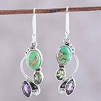 Multi-gemstone dangle earrings, 'Classic Glamor' - Multi-Gemstone Dangle Earrings Crafted in India