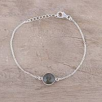 Labradorite pendant bracelet, 'Mesmerizing Night' - Adjustable Labradorite Pendant Bracelet from India