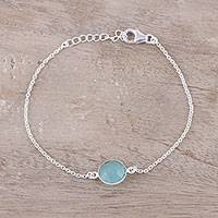 Chalcedony pendant bracelet, 'Aqua Night' - Adjustable Chalcedony Pendant Bracelet from India