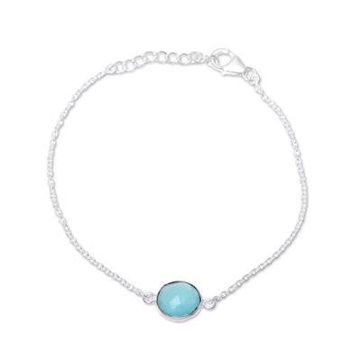 Adjustable Chalcedony Pendant Bracelet from India