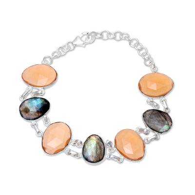 Orange Onyx and Labradorite Link Bracelet from India