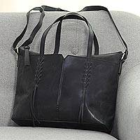 Leather shoulder bag, 'Stylish Charcoal' - Leather Shoulder and Handle Handbag in Black from India
