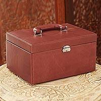 Leather jewelry case, 'Contemporary Look' - Handmade Leather Jewelry Case with Tray from India
