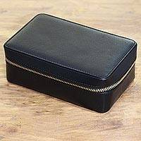 Leather travel jewelry box, 'Travel in Style' - Handmade Leather Travel Jewelry Box in Black form India