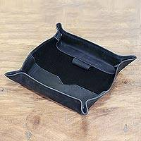 Leather catchall, 'Delightful Shape' - Handcrafted Leather Catchall from India