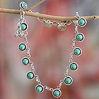 Sterling silver link anklet, 'Trendy Walk' - Sterling Silver and Calcite Link Anklet from India