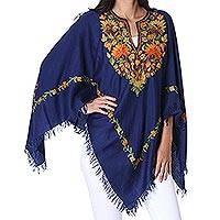 Wool poncho, 'Midnight Life' - Floral Embroidered Wool Poncho in Midnight from India