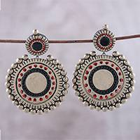 Ceramic dangle earrings, 'Glorious Circles' - Ceramic Circular Dangle Earrings from India