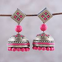Ceramic dangle earrings, 'Golden Luxury in Pink' - Ceramic Dangle Earrings in Gold and Pink from India