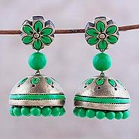 Ceramic dangle earrings, 'Green Garden' - Ceramic Dangle Earrings with Green Floral Motifs from India