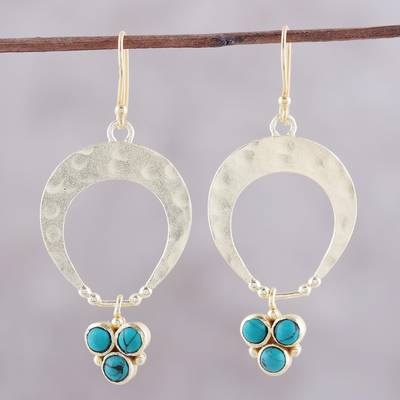 Gold plated sterling silver dangle earrings, 'Bud Arches' - Gold Plated Sterling Silver and Calcite Earrings from India