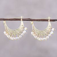 Gold plated cultured pearl hoop earrings, 'Glowing Crescents' - Gold Plated Cultured Pearl Hoop Earrings from India