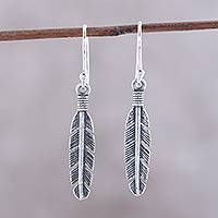 Sterling silver dangle earrings, 'Light Touch' - Sterling Silver Feather Dangle Earrings from India