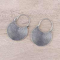 Sterling silver hoop earrings, 'Spiral Delight' - Spiral Motif Sterling Silver Hoop Earrings from India