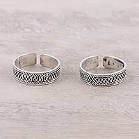 Sterling silver toe rings, 'Curvy Charm'
