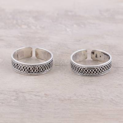 Sterling silver toe rings, Curvy Charm