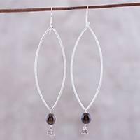 Smoky quartz dangle earrings, 'Stylish Attraction'