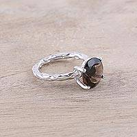 Rhodium plated smoky quartz solitaire ring, 'Elegant Dazzle' - Rhodium Plated Smoky Quartz Solitaire Ring from India