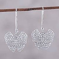 Rhodium plated sterling silver dangle earrings, 'Glitzy Butterflies' - Rhodium Plated Sterling Silver Butterfly Earrings from India