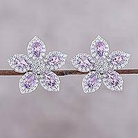Rhodium plated amethyst button earrings, 'Petal Shimmer' - Rhodium Plated Amethyst Button Earrings from India