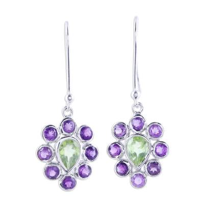 Rhodium Plated Peridot and Amethyst Earrings from India