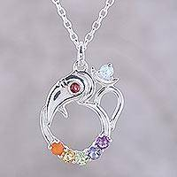 Multi-gemstone pendant necklace, 'Ganesha Chakra' - Multi-Gemstone Ganesha Chakra Necklace from India
