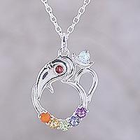 Multi-gemstone pendant necklace, 'Ganesha Chakra'