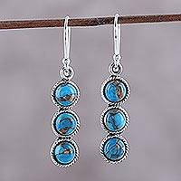 Sterling silver dangle earrings, 'Dancing Circles' - Circular Sterling Silver and Composite Turquoise Earrings