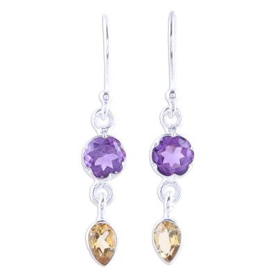 Amethyst and Citrine Dangle Earrings from India