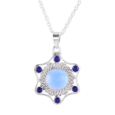 Chalcedony and lapis lazuli pendant necklace, 'Charismatic Beauty' - Blue Chalcedony and Lapis Lazuli Pendant Necklace from India