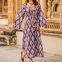 Cotton maxi dress, 'Flames of Grey' - Grey and White Print 100% Cotton Long Sleeve Maxi Dress