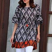 Cotton kaftan, 'Magical Bliss' - Grey Black and Orange Beaded Tassel Cotton Kaftan