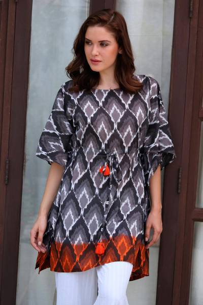 Cotton caftan, 'Magical Bliss' - Grey Black and Orange Beaded Tassel Cotton Kaftan