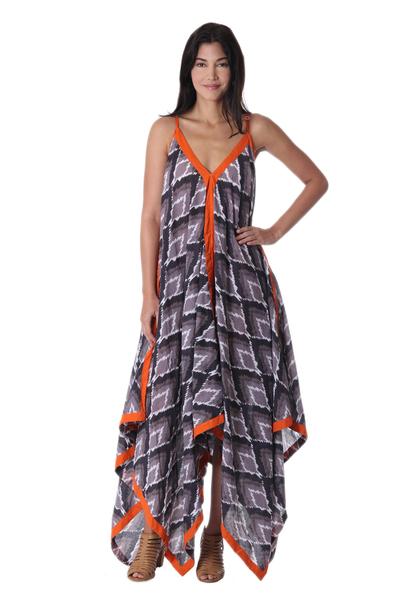 Grey Black and Orange Print Cotton Maxi Dress