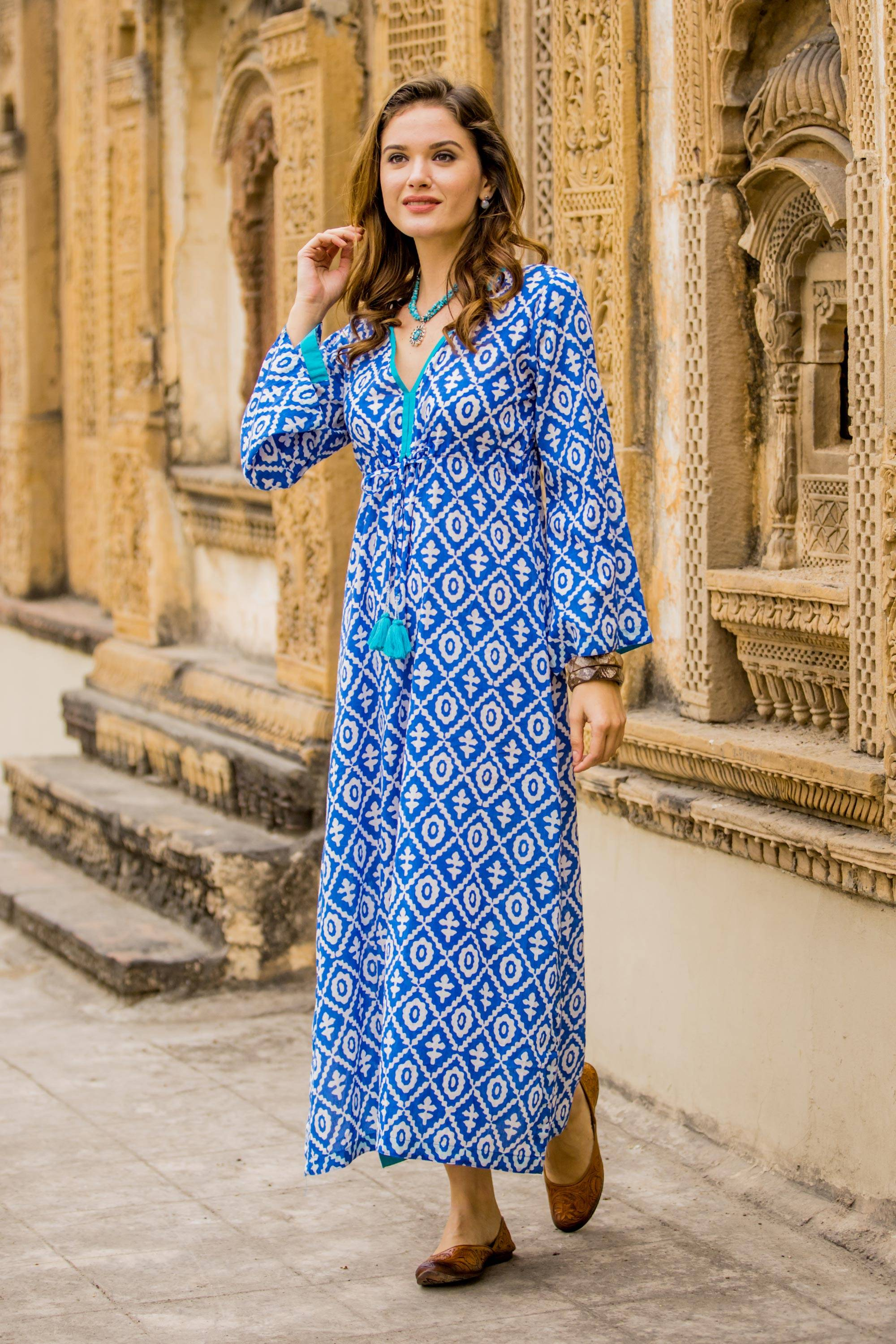 d7d0b010c5ebd Blue and White Print 100% Cotton Long Sleeve Maxi Dress - Carefree ...