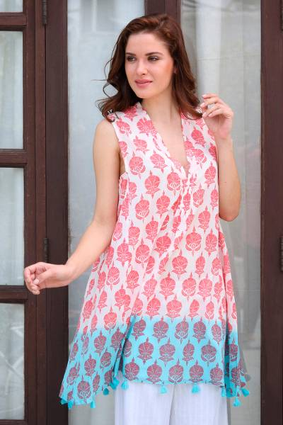 Cotton shift dress, 'Strawberry Buds' - Strawberry and White Floral Print Tasseled Cotton Dress