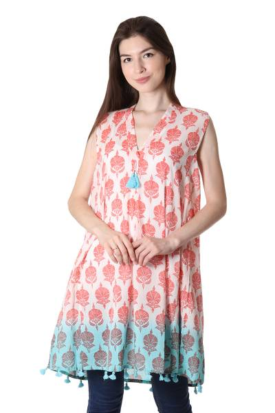 Strawberry and White Floral Print Tasseled Cotton Dress