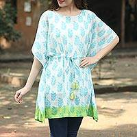 Short cotton caftan, 'Haven of Leaves' - Turquoise White and Green Leaf Print Cotton Caftan