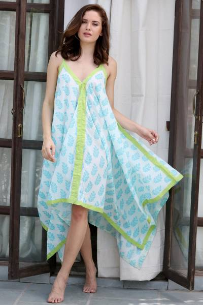 Cotton maxi sundress, 'Haven of Leaves' - Turquoise White and Green Leaf Print Long Cotton Sundress