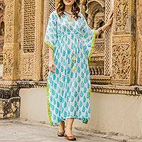 Cotton caftan, 'Haven of Leaves' - Turquoise Green and White Leaf Print Cotton Long Caftan